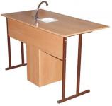 Стол ученический  2-местный для кабинета химии с комплектом сантехники.