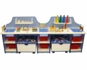 Дидактический стол с пуфиками без наполнения (в комплект входит-3шт.тазика)