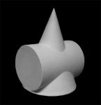 Сечение конуса с цилиндром. Гипс