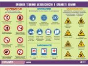 """Таблица демонстрационная """"Правила техники безопасности в кабинете химии"""" (винил 70х100)"""